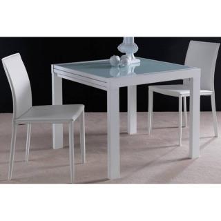 Table repas extensible SPACE en verre sérigraphié blanc