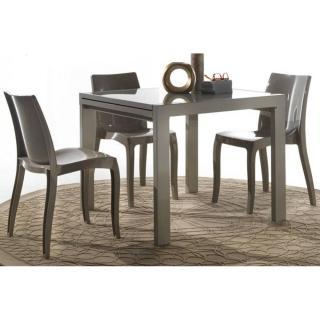 Table repas extensible SPACE en verre sérigraphié couleur taupe