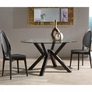 Table repas design TEOREMA wengé plateau en verre