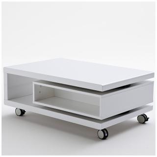 Table basse sur roulettes ANGELA coloris blanc tiroir rotatif