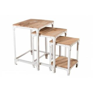 Ensemble de 3 tables gigognes RAPHAEL en bois de manguier style industriel