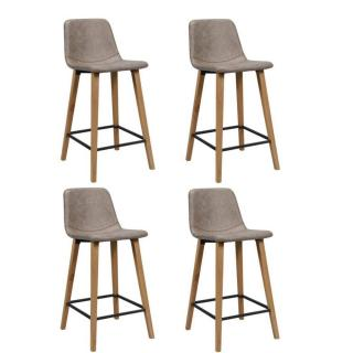 Lot de 4 chaises de bar COLT marron