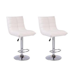 Lot de 2 chaises de Bar COOL en tissu enduit polyuréthane simili façon cuir blanc