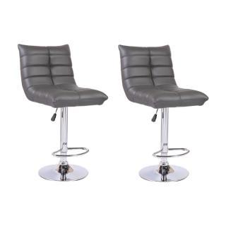 Lot de 2 chaises de Bar COOL en tissu enduit polyuréthane simili façon cuir gris