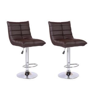 Lot de 2 chaises de Bar COOL en tissu enduit polyuréthane simili façon cuir chocolat
