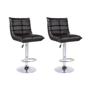 Lot de 2 chaises de Bar COOL en tissu enduit polyuréthane simili façon cuir noir