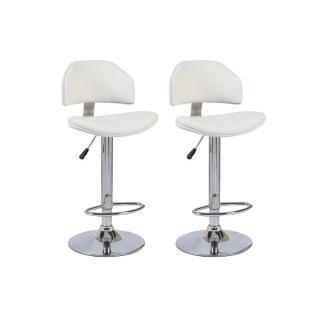 Lot de 2 chaises de Bar DEEP en tissu enduit polyuréthane simili façon cuir blanc