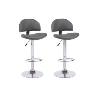 Lot de 2 chaises de Bar DEEP en tissu enduit polyuréthane simili façon cuir gris