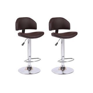 Lot de 2 chaises de Bar DEEP en tissu enduit polyuréthane simili façon cuir marron