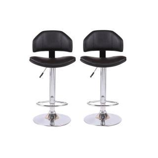 Lot de 2 chaises de Bar DEEP en tissu enduit polyuréthane simili façon cuir noir