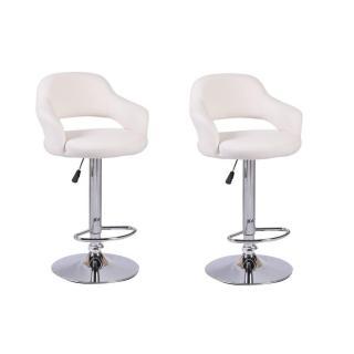 Lot de 2 chaises de Bar FRESH  en tissu enduit polyuréthane simili façon cuir blanc