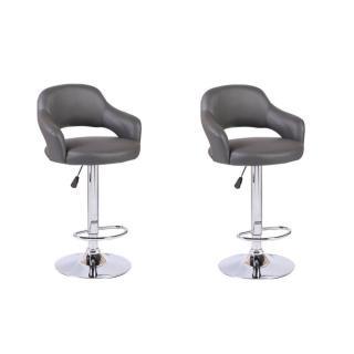 Lot de 2 chaises de Bar FRESH en tissu enduit polyuréthane simili façon cuir gris