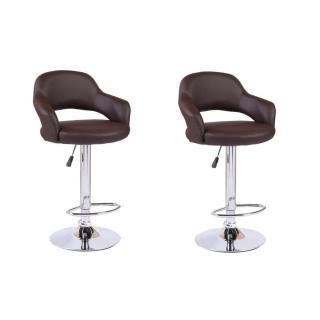Lot de 2 chaises de Bar FRESH en tissu enduit polyuréthane simili façon cuir marron