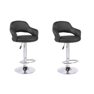 Lot de 2 chaises de Bar FRESH en tissu enduit polyuréthane simili façon cuir noir