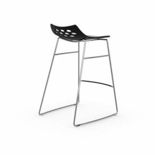 Tabouret de bar design JAM  piétement luge assise noir et blanc