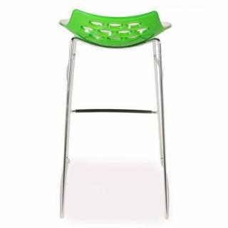Tabouret de bar design JAM  piétement luge assise vert et blanc