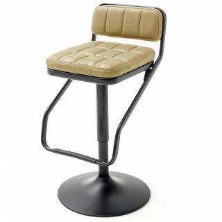 Lot de 2 chaises de bar DINAN tissu curry et pieds tube rond laqué noir mat