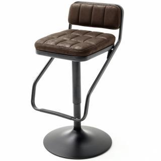 Lot de 2 chaises de bar DINAN tissu marron et pieds tube rond laqué noir mat
