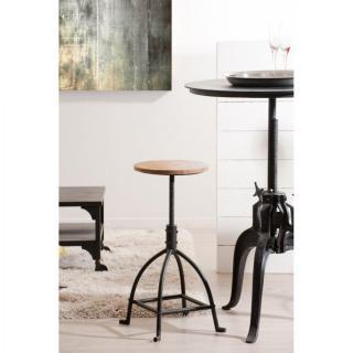 tabouret de bar industrielle raphael en fer et bois de manguier - Tabouret Bar Fer
