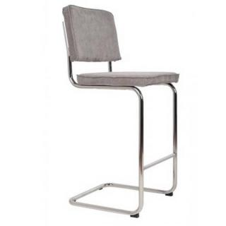 ZUIVER Chaise de bar  RIDGE RIB en velours coloris gris.