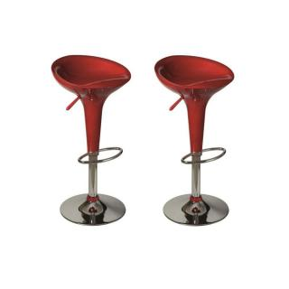 Lot de 2 Tabourets chaises de Bar SPIKE rouge