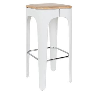 Tabouret de bar UP blanc en frêne massif