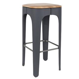 Tabouret de bar UP gris en frêne massif