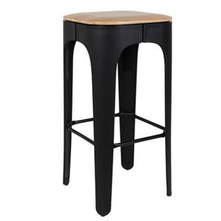 Tabouret de bar UP noir en frêne massif