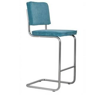 ZUIVER Chaise de bar  RIDGE RIB en velours coloris bleu.