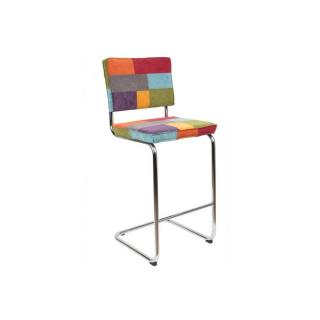 ZUIVER Chaise de bar  RIDGE RIB velours patchwork piétement chromé