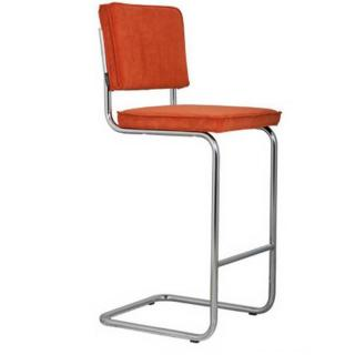 ZUIVER Chaise de bar  RIDGE RIB en velours coloris orange.