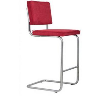 ZUIVER Chaise de bar  RIDGE RIB en velours coloris rouge.