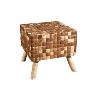 Tabouret carré design CLARA en coconut coloris café style colonial