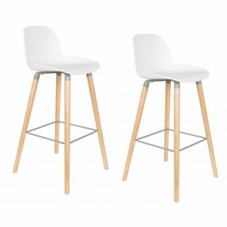 Lot de 2 chaises de bar design scandinave ALBERT KUIP blanche