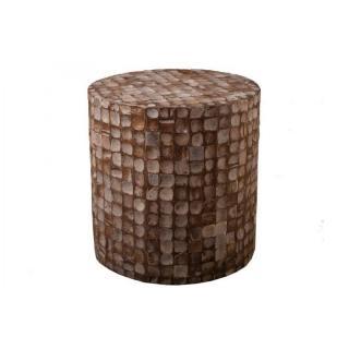 Tabouret cylindrique design CLARA en coconut coloris café style colonial