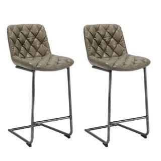 Lot de 2 chaises de bar matelassé TRONC en revêtement polyuréthane gris