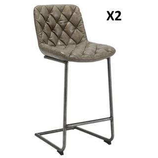 Lot de 2 chaises de bar matelassé TRONC en polyuréthane gris