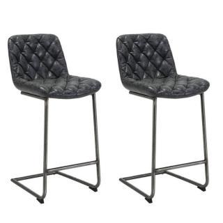 Lot de 2 chaises de bar matelassé TRONC en revêtement polyuréthane noir