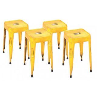 Lot de 4 tabourets design MELANGE GELB en acier jaune