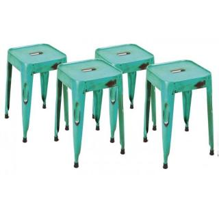 Lot de 4 tabourets design MELANGE TURKIS en acier bleu turquoise