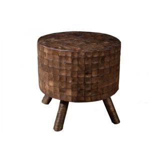 Tabouret rond design CLARA en coconut coloris café style colonial
