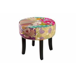 Tabouret rond design KATE tissu coloris bohème