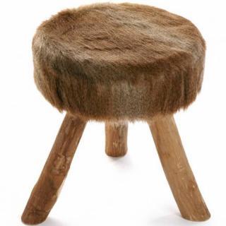 Tabouret rond LAHTI style scandinave marron
