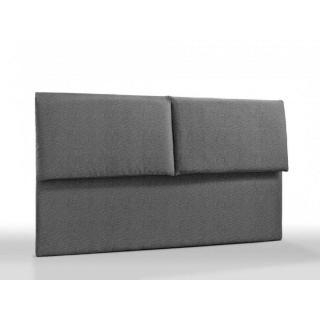 Tête de lit haut de gamme ROYAL tweed gris 165 cm avec coussins à rabats