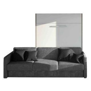 Armoire lit à ouverture assistée TRACCIA 140 x 200 cm canapé intégré accoudoirs fins et chauffeuse gauche