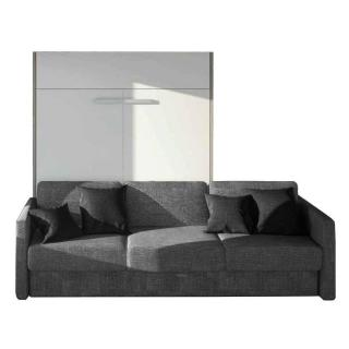 Armoire lit à ouverture assistée TRACCIA 140 x 200 cm canapé intégré accoudoirs fins et chauffeuse droite