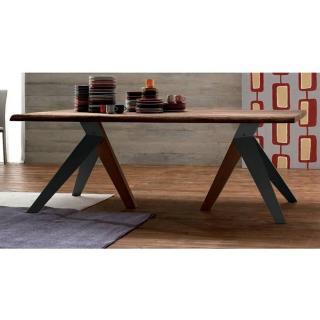TRIO Table repas en chêne teinté chocolat, piétement en bois
