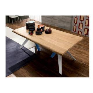TRIO Table repas en chêne naturel, piétement en bois blanc et bleu