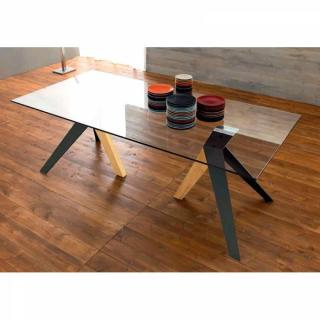 TRIO Table repas en verre, piétement en bois teinté naturel et noir