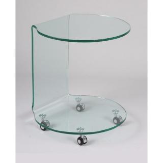TULIPE bout de canapé sur roulettes en verre